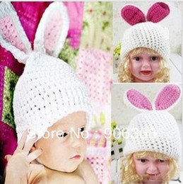 Wholesale Knit Hats For Infant Girls - Wholesale-Free shipping!2013 cutest crochet knitted baby bunny rabbit beanie hats for girls perfect easter gift for kids and infants Hats