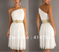 Wholesale Cheap Grecian Gown - Fashion One Shoulder Beaded Short Grecian white Prom Evening Dresses Gowns Cheap A-Line Custom Made