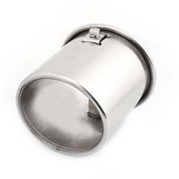 Wholesale Exhaust Tips Silencers - 89mm Dia Inlet 95mm Long Car Exhaust Pipe Silencer Muffler Tip Silver Tone