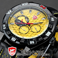 Wholesale Shark Sport Watch Black - Wholesale-SHARK Date Day Black Stainless Case Leather Band Strap Yellow Analog Men Quartz Relogio Wrist Men's Sport Watch   SH083