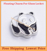 Wholesale Glass Charm Panda - Wholesale-Free shipping 2014 new Cute Panda floating charms for living magnetic memory glass lockets FC308