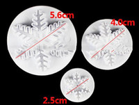 Wholesale Snowflakes Cake Mold - 3Pcs Set Snowflake Fondant Cake Decorating Plunger Sugar craft Cutter Mold Tools Bakeware Tools