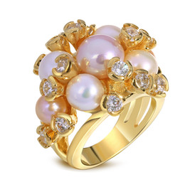 Wholesale real pearls for sale - Natural pearl ring Hot Sale Freeshipping Bands Trendy Women Prong Setting Plated Freshwater Pearl Ring with for Aaa with And 18k Real