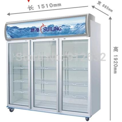2018 1000l Capacity 3 Glass Door Freezer Big Fridge Freezer