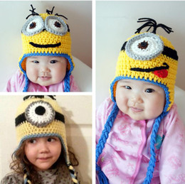 Wholesale Crocheted Girl Minion Hat - Wholesale-Knitted Hats Despicable Me Minion Winter warm Baby Child Adult Boys Girls Cotton Hat crochet Cap Handmade with earflap 4SIZE