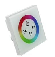 12v duvar anahtarı toptan satış-Cam RGB LED Şerit Dokunmatik Panel Denetleyicisi Dimmer Duvar Anahtarı Halka tam renkli denetleyici DC 12 V 24 V 12A beyazsiyah, dandys