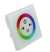 12v wanddimmer großhandel-Glas RGB LED Streifen Touch Panel Controller Dimmer Wandschalter Ring Vollfarb-Controller DC 12V 24V 12A weißschwarz, Dandys