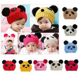 Wholesale Double Ball Knitted Cap - Wholesale-5pcs lot ! Free Shipping! 8 Colors! 0-4Y Babys Panda Cap Lovely Kids Knitted Hat Children Double Ball Skull Cap