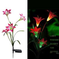 çiçek için renkli lambalar toptan satış-Pembe Güneş LED Lily Çiçek Işık Renk Değişen Enerji Tasarruflu Lambalar Açık Bahçe Yolu Yard Dekorasyon 3 LED Çiçek Parti Lambası, dandys