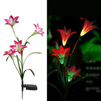 Wholesale Solar Led Flowers - Pink Solar LED Lily Flower Light Color Changing Energy Saving Lamps Outdoor Garden Path Yard Decoration 3 LED Flower Party Lamp, dandys