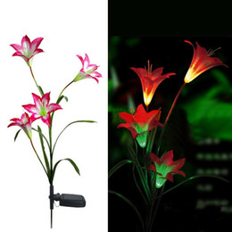 Wholesale Led Garden Flower Lights - Pink Solar LED Lily Flower Light Color Changing Energy Saving Lamps Outdoor Garden Path Yard Decoration 3 LED Flower Party Lamp, dandys