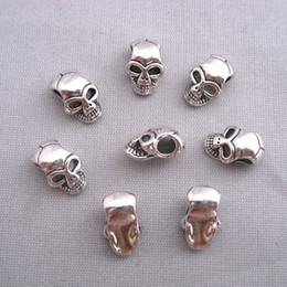 Wholesale Silver Skull Charms Beads - 100pcs lot Antique Silver Alloy Skull Big Hole Charm Beads Fit Bracelet 12*8mm hole dia:3.5mm
