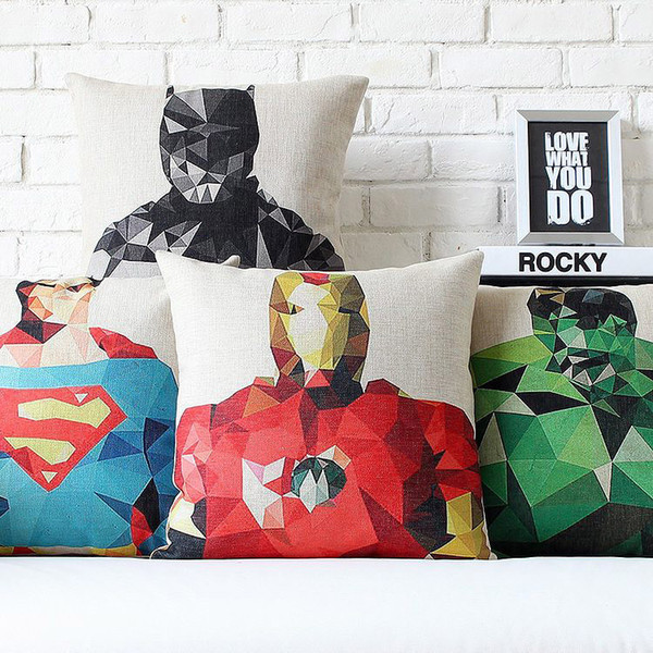Geometric Triangle Hero Superman Iron Man The Hulk Captain America Thor Print Cushions Covers Linen Cotton Pillow Case Cushion Cover