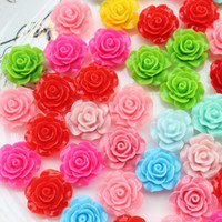 Wholesale Resin Flatback Deco - 200pcs Flower Cabochons 21mm Rose Mixed Colors, Flatback Cabochon Embellishment, Resin Deco Cabochon, Flatback Flower