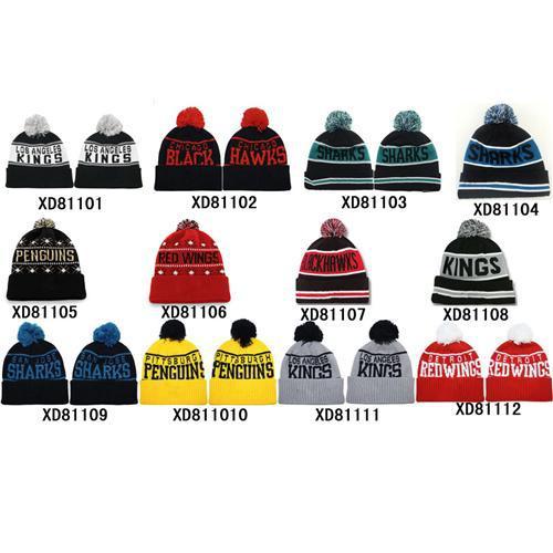 6d6d716c1 Hot Hockey Beanies Cheap Ice Hockey Pom Pom Beanies Warm Winter Caps  Fashion Knitted Hats Mens Team Beanie Caps Brand Sports Hats Mix Order