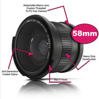Wholesale Wide Lens 58mm - New 58 mm 0.35X Wide Fisheye Lens with Bag for Canon Nikon Sony Pentax 58mm DSLR Camera Black D1411