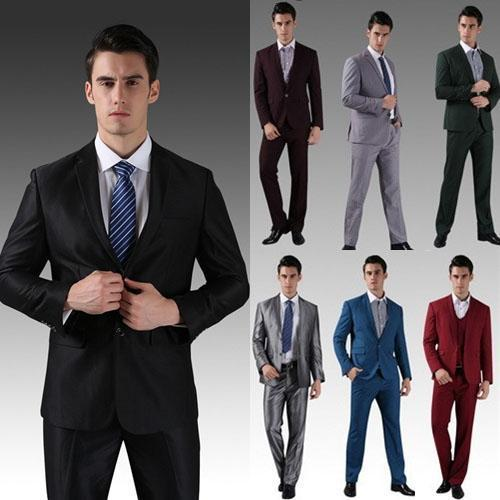 Different Color Styles Formal Men Suits Three Piece Wedding Groom ...