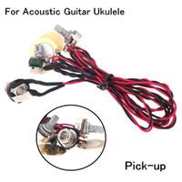 Wholesale Ukulele Guitars - New Arrivel Homeland Dual Piezo Guitar Pickup Pick-up 6.35mm Jack with Volume Tone Control for Acoustic Guitar Ukulele I415