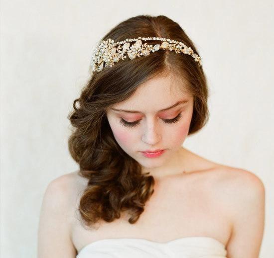 gold crystal peals alloy wedding bridal rhinestone hair band quinceanera crowns gorgeous handmade bridal hair accessories wedding jewelry bride jewellery