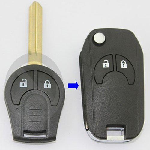 Keyless Entry 2buttons Flip Fold Car Key Shell Romote Fob Case for Nissan Qashqai Micra Note Juke 2011 2012 2013