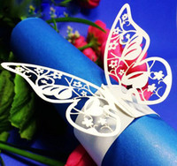 Wholesale Papers Napkin Serviettes - 60pcs lot Marriage Banquet Table Napkin Ring flying Butterfly Design Serviette Paper Holder Party Feast Napkin Adornment wc302