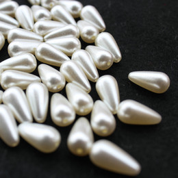 Wholesale 8mm Pearls Faux - 250pcs drilled luster Vintage 16mm*8mm loose beads Faux Ivory Teardrop Pearl Bead shiny pearly pearlized beads