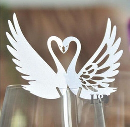 Wholesale Marriage Card Decoration - 120pcs lot Two Swan Kissing Design Wine Glass Paper Card Marriage Party Table Place Card Guest Number Name Holder wd157