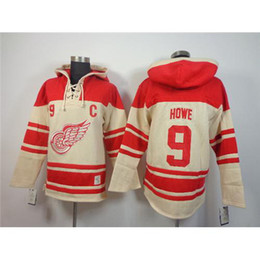 Usure Des Ailes Pas Cher-Hockey Jacket 2014 Red Wings # 9 Howe Red Hockey uniforme Mens Hoodies Hockey habille bon marché Hockey sur glace Hoodies hockey professionnel Wears