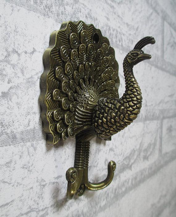 Decorative Wall Hook 2017 peacock decorative wall hook metal wall hooks / antique