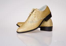 Wholesale Unique Style Dresses - NEW style Men's GOLD wedding shoes Mens leather shoes Unique men casual shoes HM111