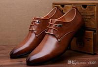 Wholesale Low Cut Lace Wedding Dresses - NEW HOT SALE Men's unique pointed gradient color leather shoes wedding shoes Business Shoes S18