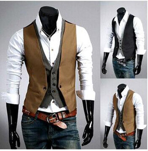 Spring Fashion New Basic Casual Suit Vest Men,Brand Quality Tank Tops,Faux Two Piece Waistcoat,FreeDrop Ship Plus Size XXXL