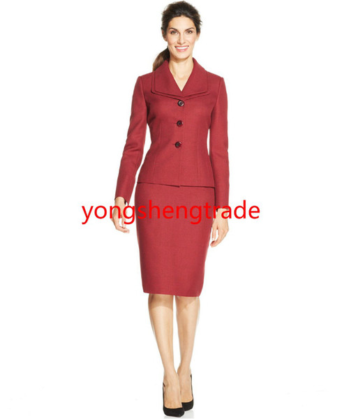 Brand Wine Three-Button Customized Skirt Suit Double Foldover Collar Pencil Silhouette Skirt 743