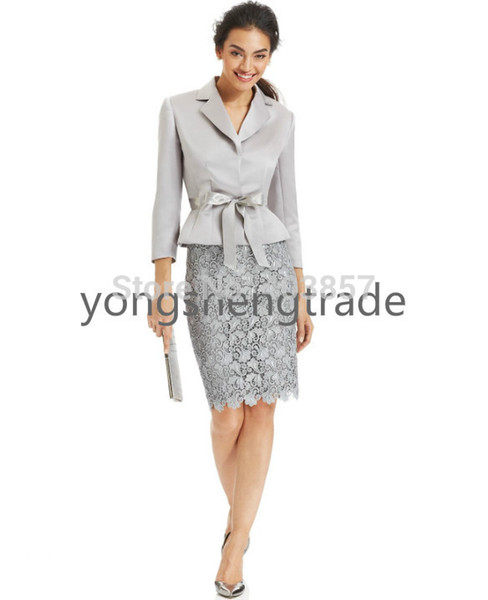 Belted Jacket & Lace Skirt Suit Silver Suit Custom Made Suit Notched Collar Snap Button Closures No Pockets 714