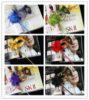Wholesale Flower Face Mask - Hand Made Party Mask with stick Wedding Venetian Half face flower mask Halloween Masquerade Mask princess Braid Mardi Gras Mask 7 color M15