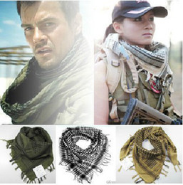Wholesale Shemagh Tactical Desert Scarf - Army Military Tactical Unisex Arab Shemagh KeffIyeh Cotton Shawl Scarves Hunting Paintball Head Scarf Face Mesh Desert Bandanas