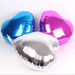 Wholesale Gold Stage Props - 50pcs lot Cartoon Balloon Love Heart Shape Masquerade Props Christmas Party Stage Foil Airballon Child Toys wq015 18 inches