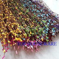 ingrosso bacche artificiali-Gambo grazioso della bacca di pip di 9 colori 40cm per il fiore artificiale 50pcs / 100pcs / 200pcs del fiore artificiale della corona di cerimonia nuziale della corona del braccialetto