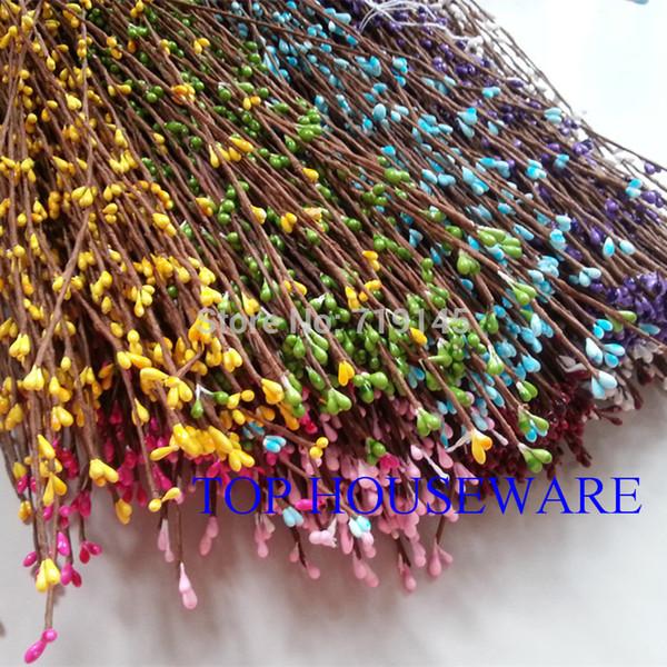 9 Colors 40cm pretty pip berry stem for floral bracelet wreath wedding diy wreath artificial flower 50pcs/100pcs/200pcs Package