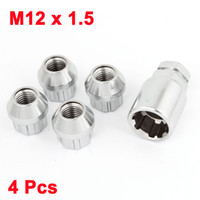 Wholesale Car Wheel Lug Nuts - 4 Pcs M12 x 1.5 Open End Car Wheel Rim Tuner Lug Nut + 6 Point Socket Key
