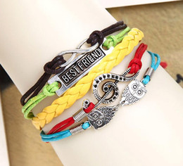 Wholesale Infinity Friends Bracelet - Handmade Women's Leather Bracelet Multiply Braid Bangle With Musical Note Infinity Symbol Best Friend Word DIY Wrist Chain jb106