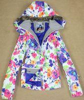 Wholesale Womens Skiwear - 2015 womens flower printing ski jacket floral snowboarding jacket ladies waterproof windproof snow wear jacket snow parka skiwear white