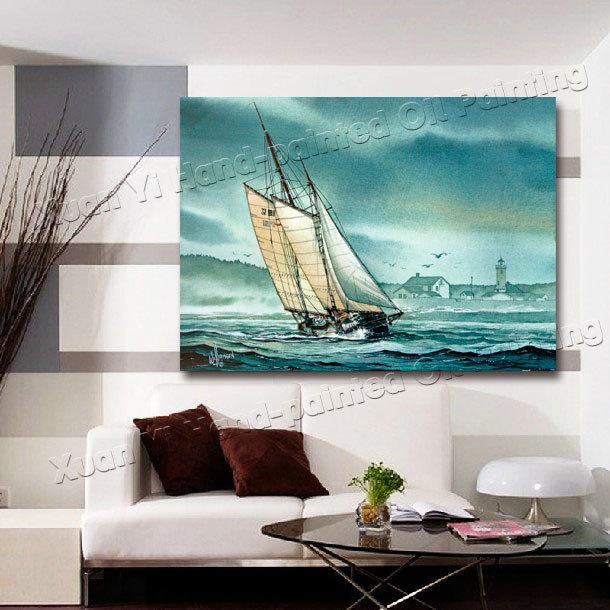 Relatively 2018 Oil Painting Modern Living Room Wall Decor Boat Landscape  AS83