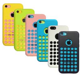 Iphone couverture en silicone points en Ligne-Coloful Silicone Round Dots Etui souple pour iphone 5C design officiel Couverture arrière en caoutchouc 6 coloré Livraison gratuite