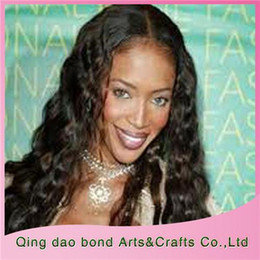 Wholesale Long Hair Wigs Smooth - Brazilian Full Lace Wig On Sale Natural Color Deep Wave Long Sweet Smooth Touch Stylish Wig DW008