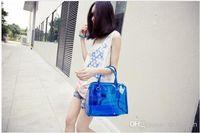 Wholesale Candy Bag Female - 2013 female candy transparent color block jelly women's handbag hand messenger bag WY125 50p