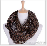 Wholesale Silk Scarf Hearts Leopard - 2014 Fashion Leopard Printed Infinity Scarf Circle Loop Infinity Scarves Ring Circle Loop scarf Free shipping 2 lot H410