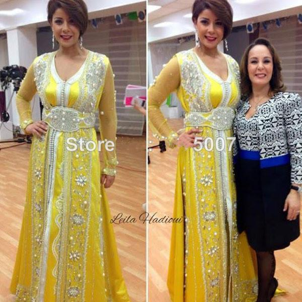 Sparkly 2015 Caftan Jaune Arabic Evening Gowns Long Sleeves Silver