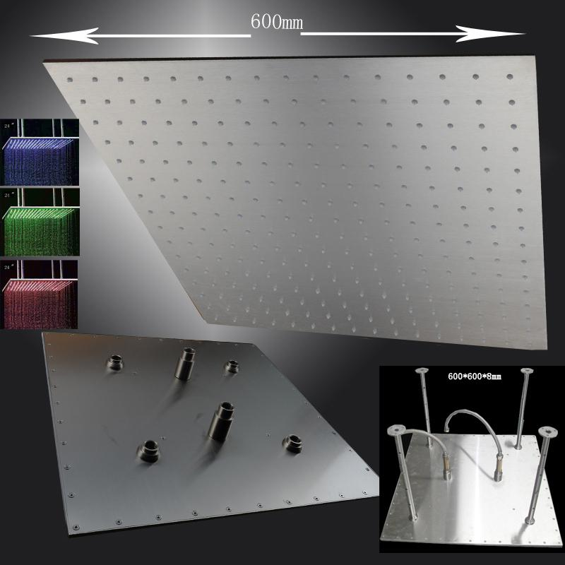 HM BD007 1M Large Rain Shower Head,led Shower Head,rgb Color,square Shower  Head