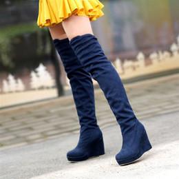 Wholesale Bridal Winter Boots - Boots Flock Red knee-length wedding shoes bridal plus size 40 41 42 small 31 32 33 high heel 10CM Platform 3CM EUR Size 30-43